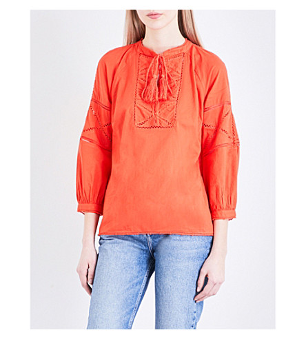 WHISTLES Bethany cotton-voile top (Bright+orange