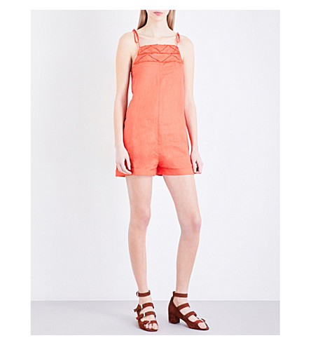 WHISTLES Imogen linen playsuit (Bright+orange