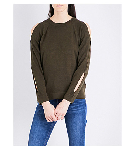 WHISTLES Cold-shoulder knitted sweatshirt (Khaki/olive