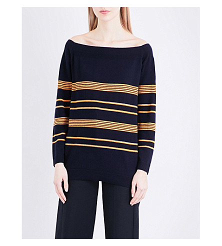 WHISTLES Bardot wool and cashmere-blend jumper (Navy