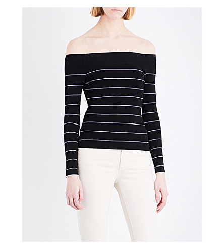 WHISTLES Bardot striped knitted jumper (Black