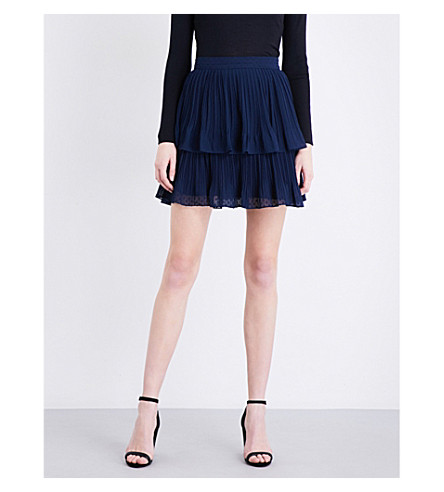 WHISTLES Ellie tiered chiffon skirt (Navy