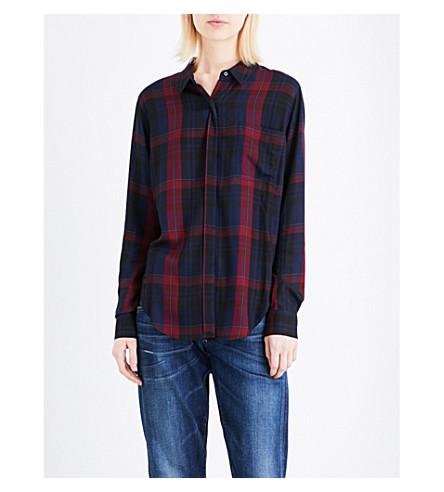 WHISTLES Emeilia Check crepe shirt (Plum/claret