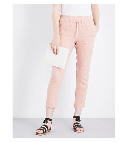 WHISTLES Easy tapered cropped linen pants (Nude