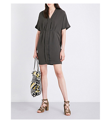 WHISTLES Eloise pleated woven dress (Khaki/olive
