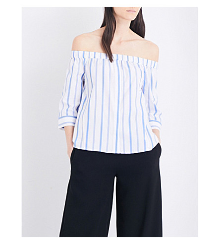 WHISTLES Sarah striped off-the-shoulder woven top (Multi-coloured