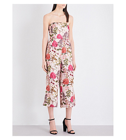 WHISTLES Hydrangea tie-back silk-twill jumpsuit (Multi-coloured