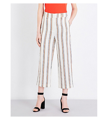 WHISTLES Erika wide high-rise linen-blend trousers (Multi-coloured
