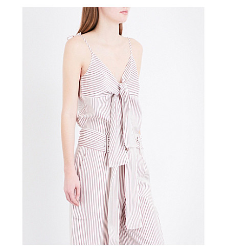 WHISTLES Stripe silk-twill camisole top (Multi-coloured