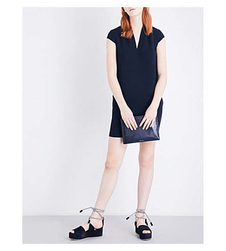 WHISTLES Paige V-neck stretch-crepe dress (Navy