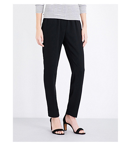 WHISTLES Elyse tapered high-rise crepe trousers (Black