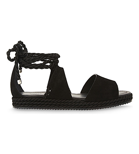 WHISTLES Mimosa suede flatform sandals (Black
