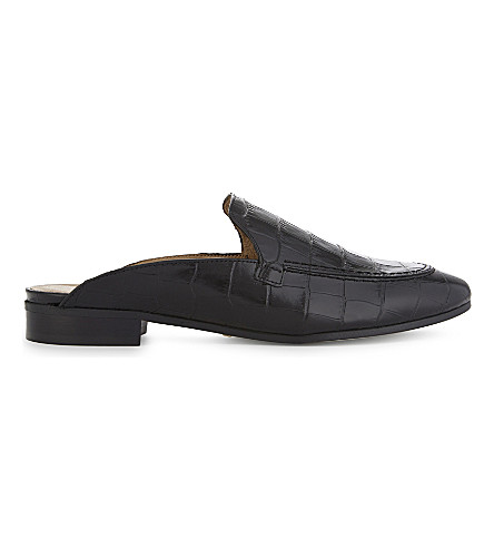 WHISTLES Lister leather open back loafers (Black