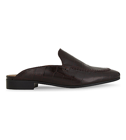 WHISTLES Lister open back leather loafers (Plum/claret