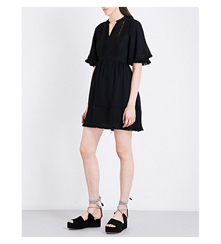 WHISTLES Tori woven fringe dress (Black