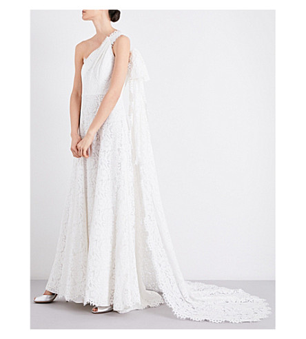 WHISTLES Juliet asymmetric fit-and-flare wedding gown (Cream