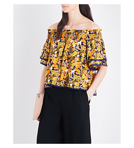 WHISTLES Sienna citrus-print off-the-shoudler top (Black