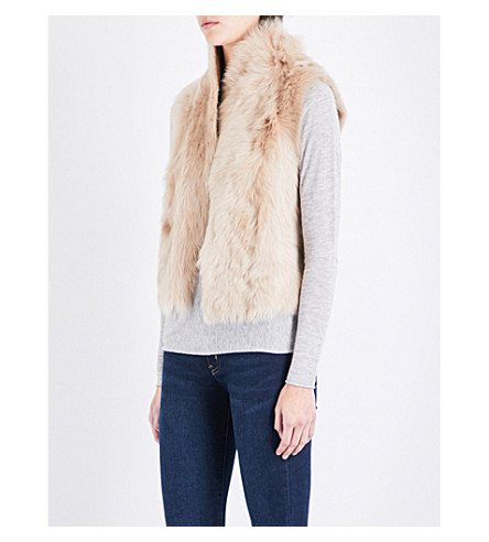 WHISTLES Sleeveless lamb-shearling vest (Tan
