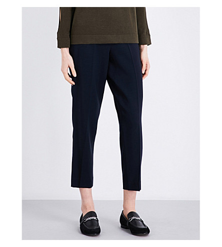 WHISTLES Anna high-rise tapered wool trousers (Navy