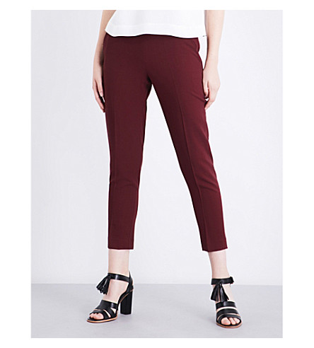 WHISTLES Anna wool trousers (Plum/claret