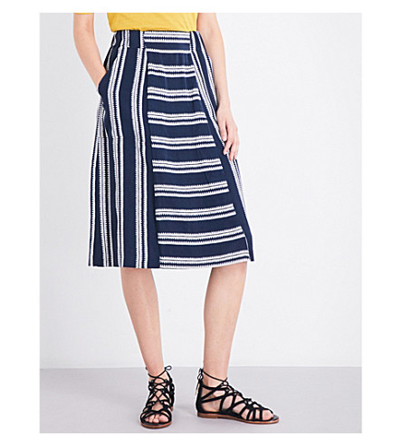 WHISTLES Adina striped woven skirt (Navy