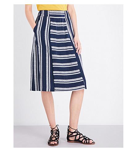 WHISTLES Adina 条纹编织的裙子 (海军