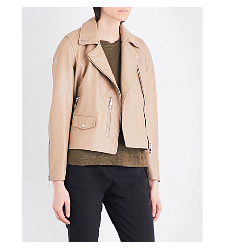 WHISTLES Agnes leather biker jacket (Tan