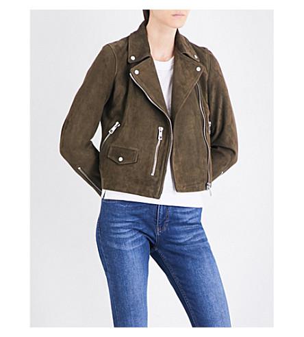 WHISTLES Agnes suede biker jacket (Khaki/olive