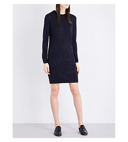 WHISTLES Annie sparkle-knit dress (Navy