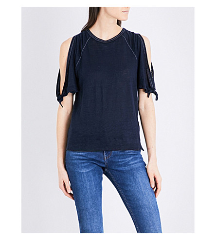 WHISTLES Tie-cuff linen T-shirt (Navy