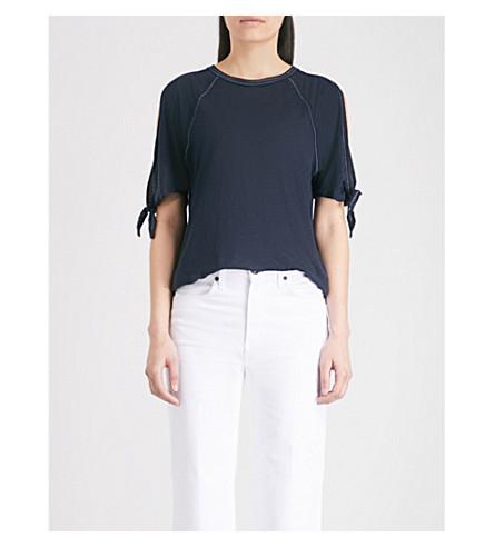 WHISTLES Bow-embellished linen T-shirt (White