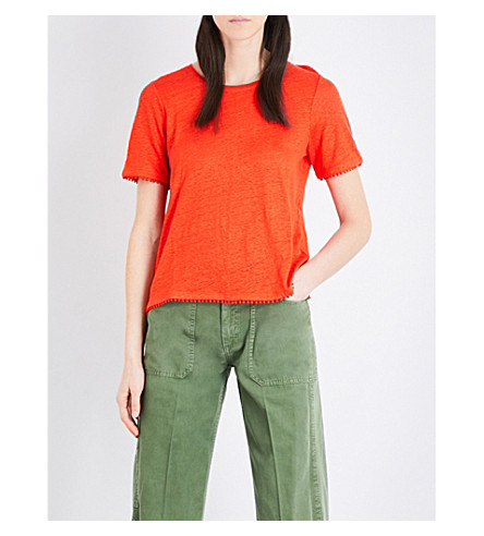 WHISTLES Pom-pom linen T-shirt (Red