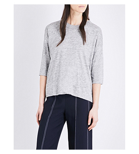 WHISTLES Laura loose-fit linen T-shirt (Grey