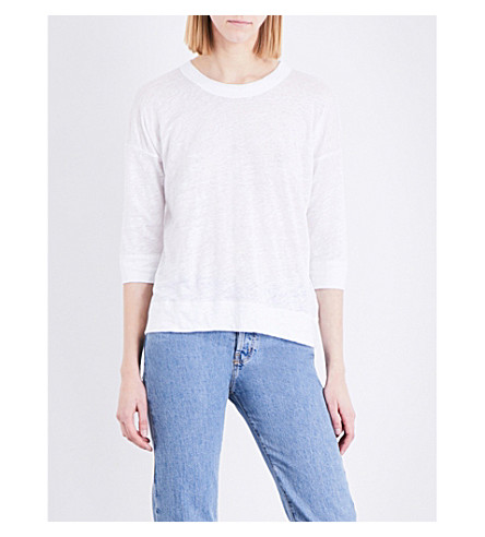 WHISTLES Laura linen top (White