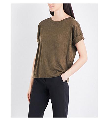 WHISTLES boat-neck linen T-shirt (Khaki/olive