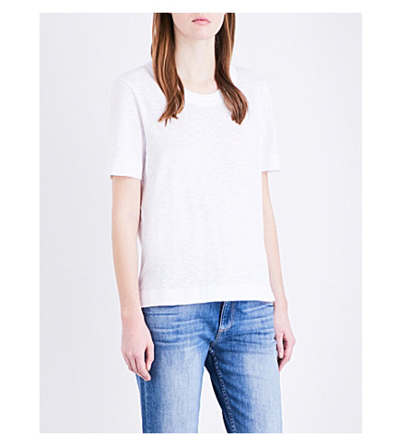 WHISTLES Rosa double-trim pure-cotton t-shirt (White