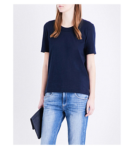 WHISTLES Rosa double-trim cotton T-shirt (Navy