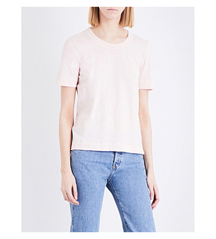 WHISTLES Rosa layered-detail cotton-jersey T-shirt (Pale+pink