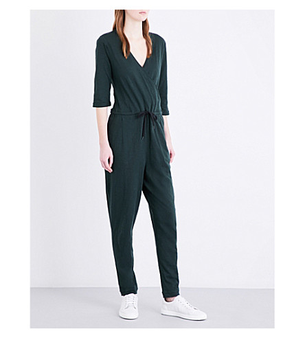 WHISTLES Wrap-front pure-cotton jumpsuit (Khaki/olive