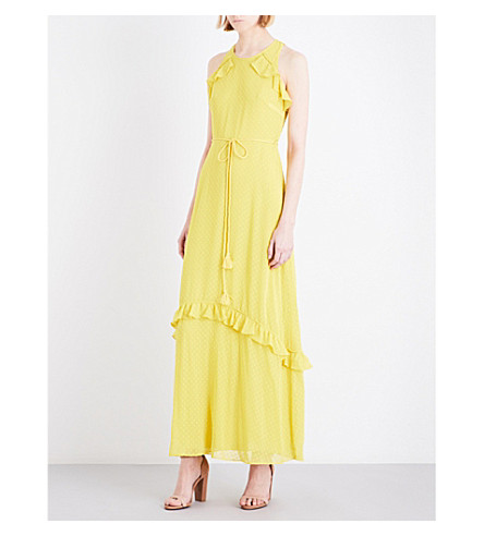 WHISTLES Cold-shoulder chiffon maxi dress (Yellow