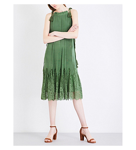 WHISTLES Lilian pleated lace and chiffon dress (Green