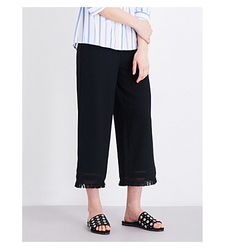 WHISTLES Tassle-trim wide-leg high-rise trousers (Black