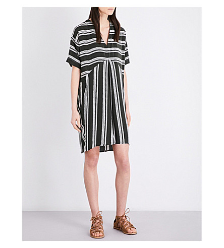 WHISTLES Josie striped woven dress (Khaki/olive