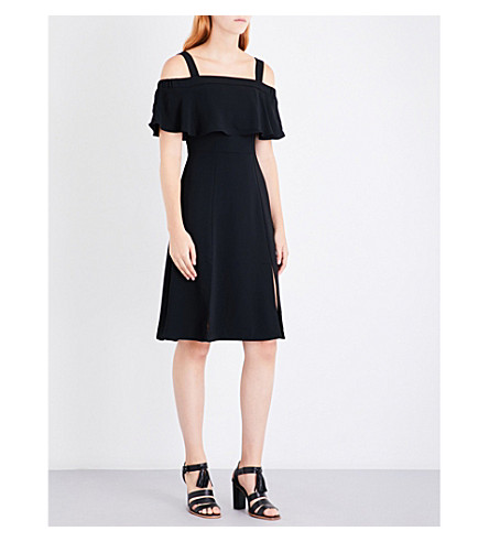 WHISTLES Piper cold shoulder crepe dress (Black