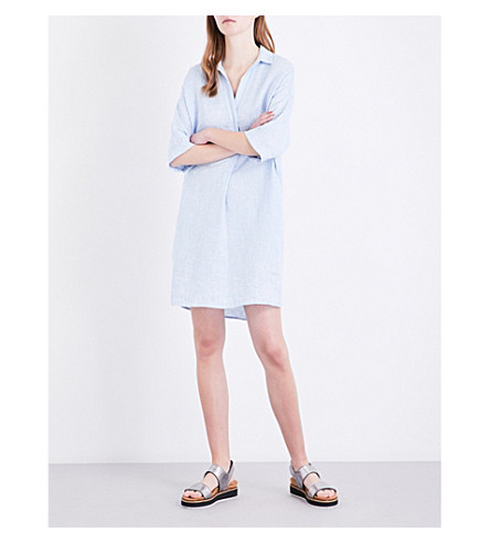 WHISTLES Lola linen shirt dress (Blue