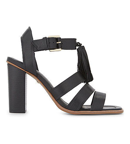 WHISTLES Maida leather tassel heeled sandals (Black