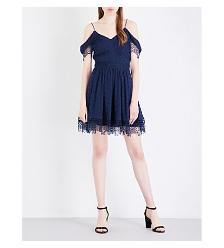 WHISTLES Issa lace and chiffon cold shoulder dress (Navy