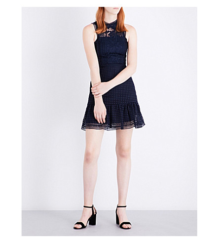 WHISTLES Flo lace dress (Navy