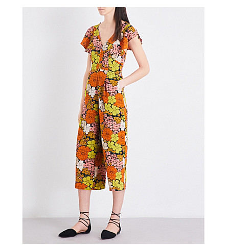WHISTLES Tangerine Dream floral silk jumpsuit (Multi-coloured