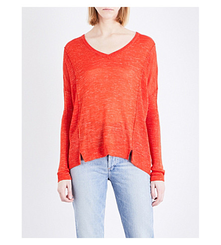 WHISTLES V-neck knitted sweater (Red